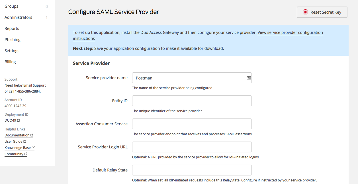 Setting up custom SAML in Duo | Postman Learning Center