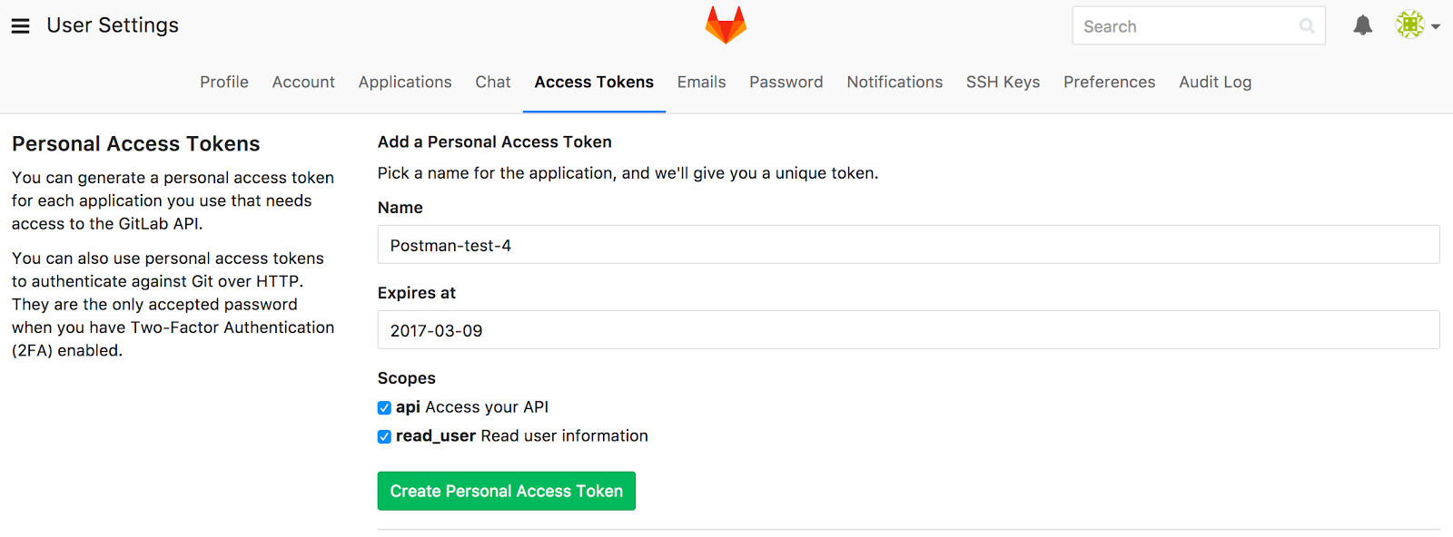 gitlab create token