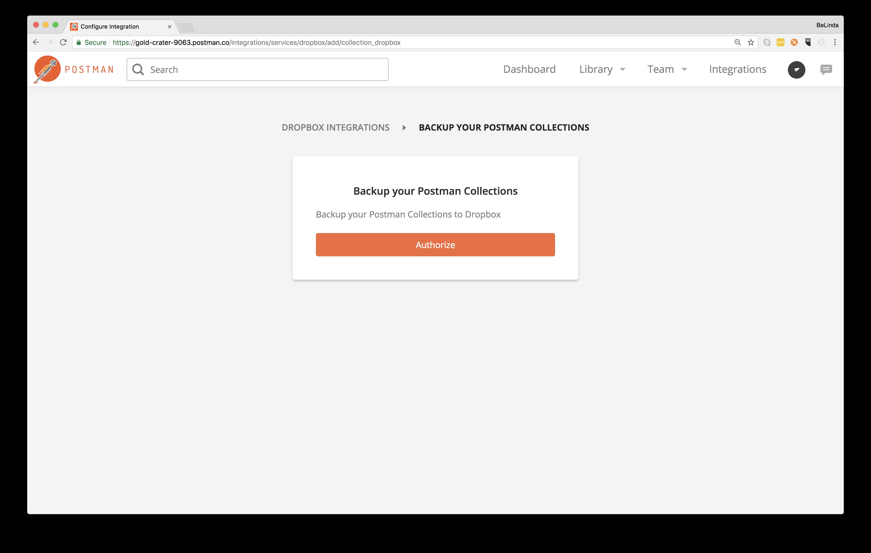 select dropbox integration