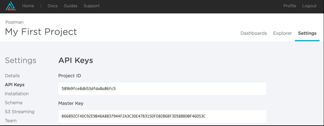 Keen IO API key