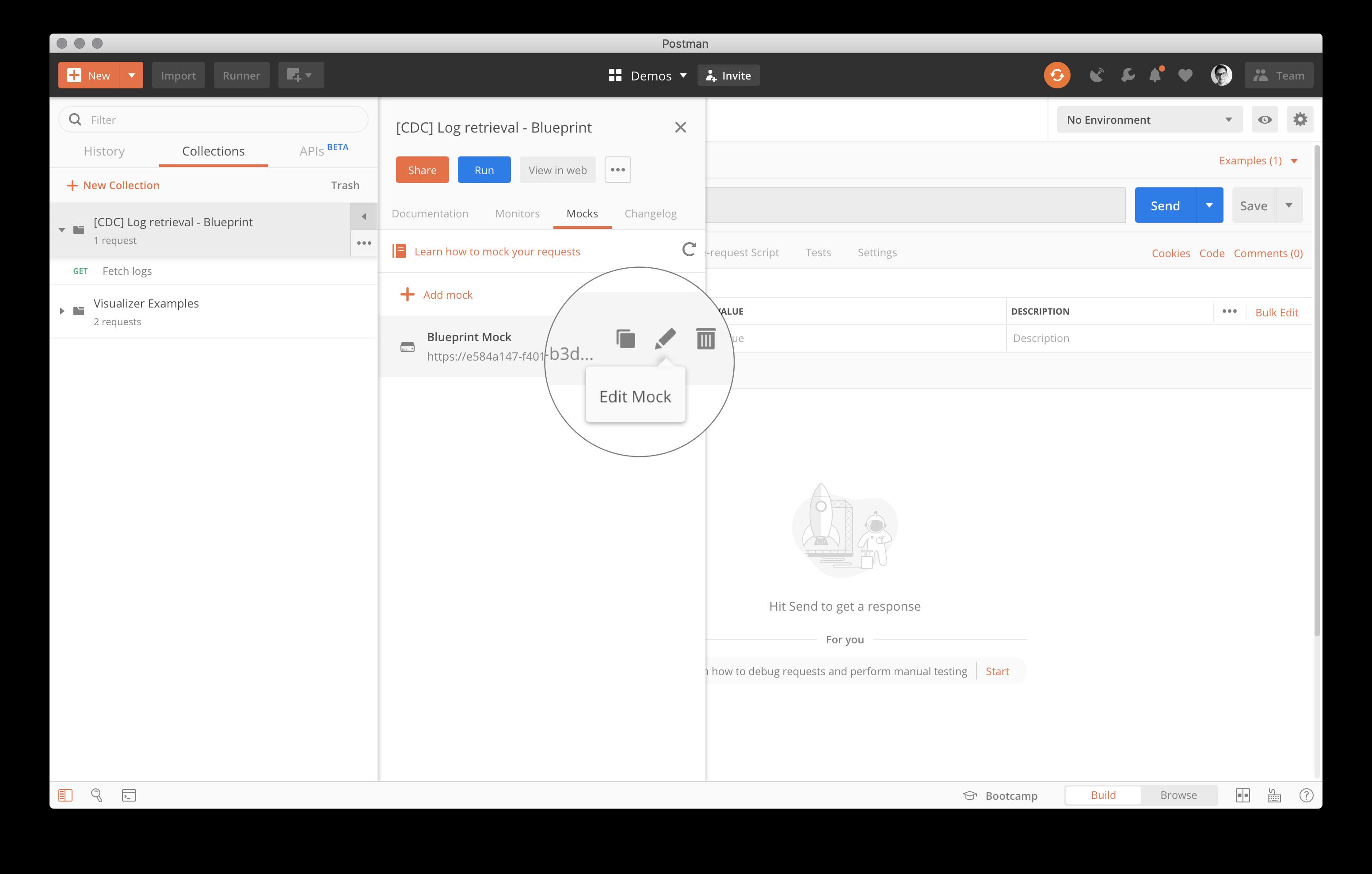 Postman Mock Server edit in Build mode