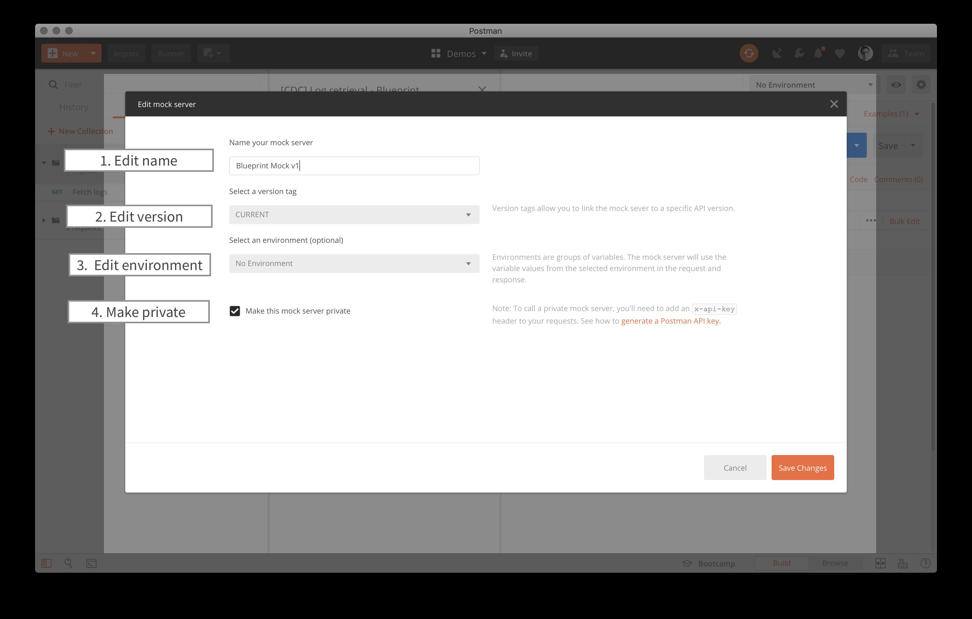 Postman Mock Server edit options