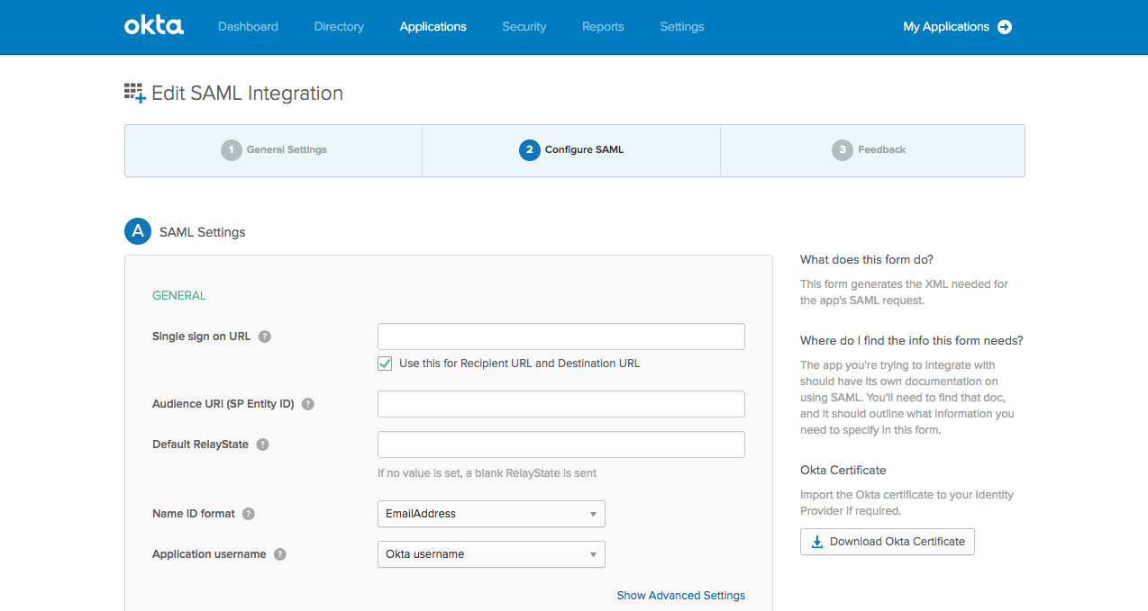 Setting up custom SAML in Okta | Postman Learning Center
