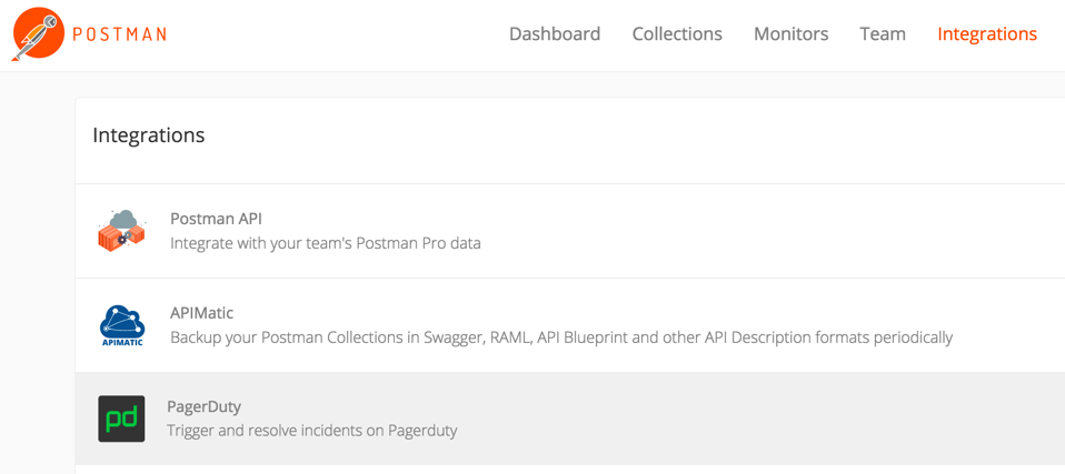 select pagerduty integration