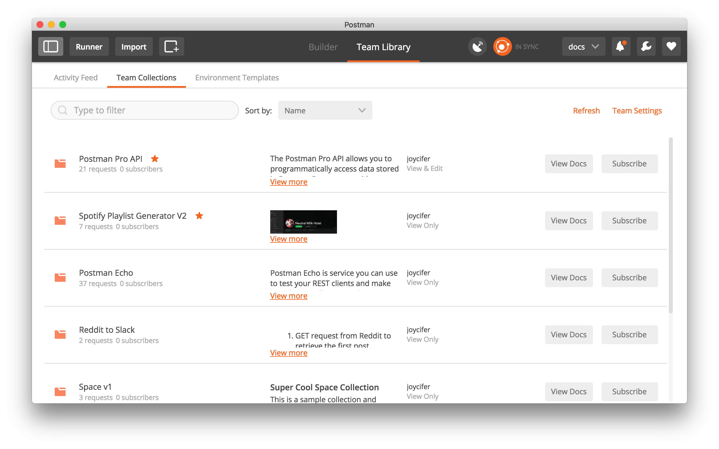 En customer account createpost/downloader - Team Library View