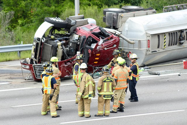 An up-close look at that overturned tanker that snarled traffic on I-95