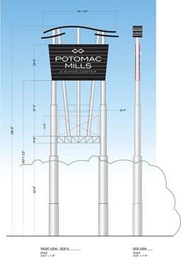 d158bc7934 The newly-designed Potomac Mills sign will pay tribute to the area it calls  home – featuring waves inspired by the Potomac River.