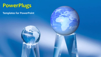 powerpoint template a moving globe with a bluish background