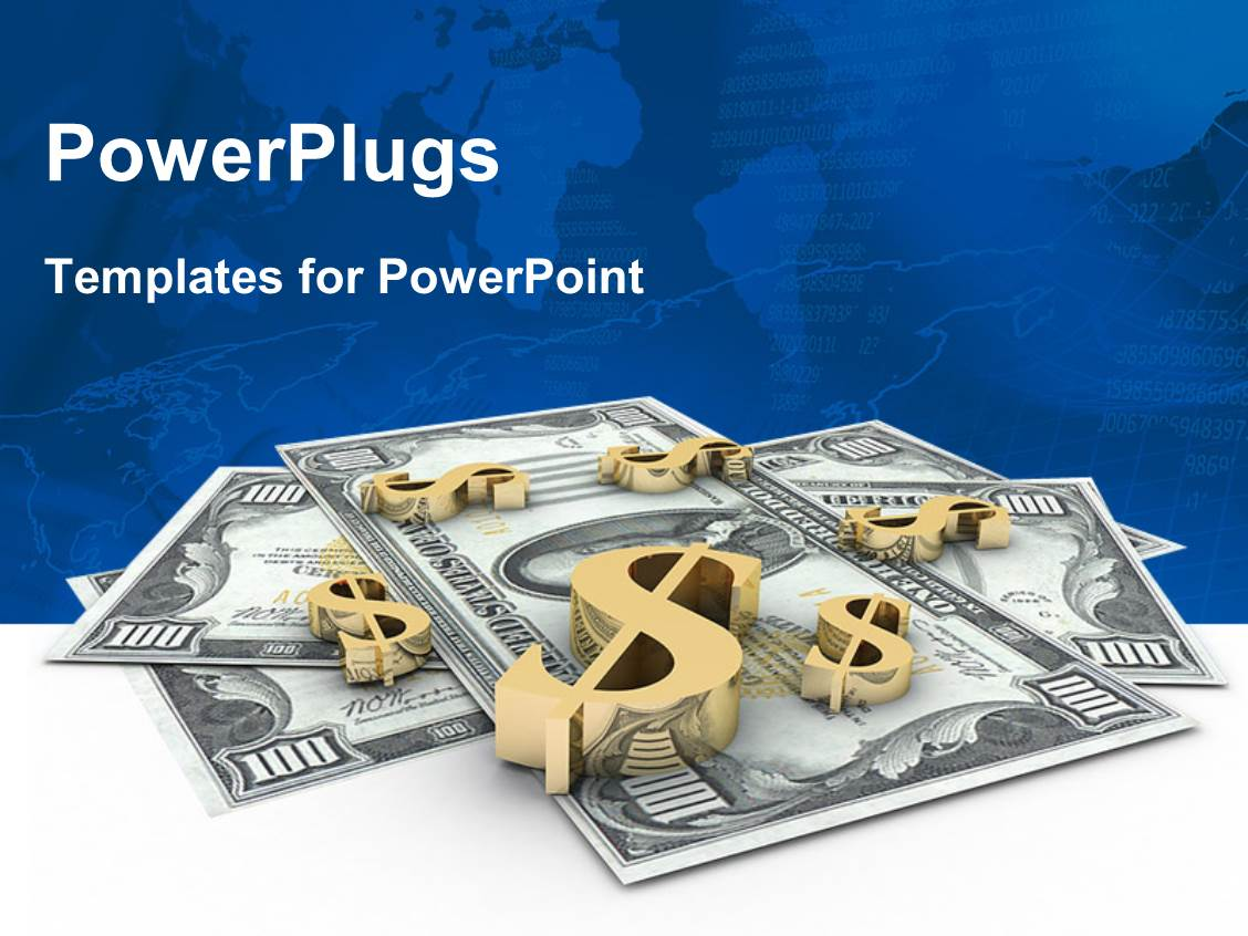 PowerPoint Template Displaying 3D Gold Dollar Signs on Hundred Dollar Bills with World Map