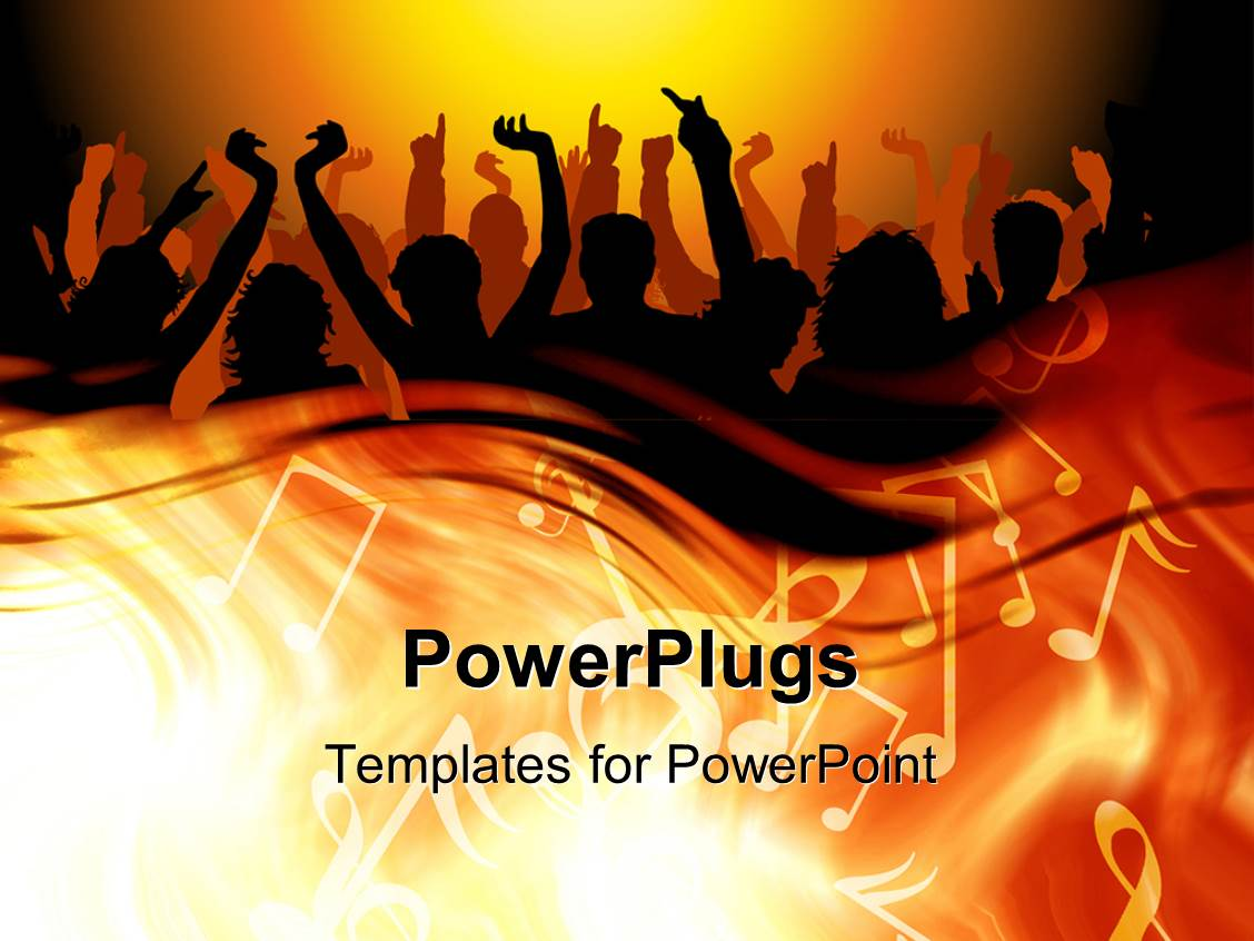 Powerpoint template 3d graphics of lots of people raising ther powerpoint template displaying 3d graphics of lots of people raising ther hands and dancing with a toneelgroepblik Images