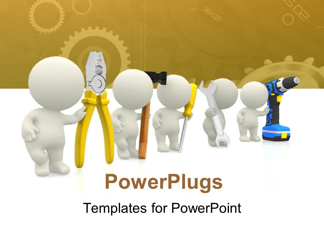 Powerpoint template young lady engineer with tools around waist colorful presentation design having 3d human characters holding mechanical tools and engineering theme in background toneelgroepblik Image collections
