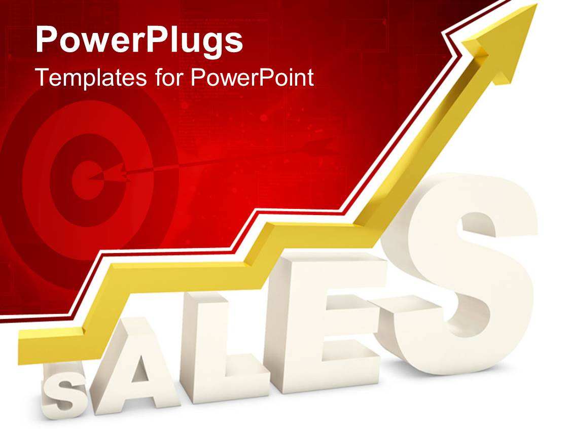 5000 sales targets powerpoint templates w sales targets themed theme having 3d white sales word with yellow arrow pointing up depicting growth in sales and toneelgroepblik Gallery