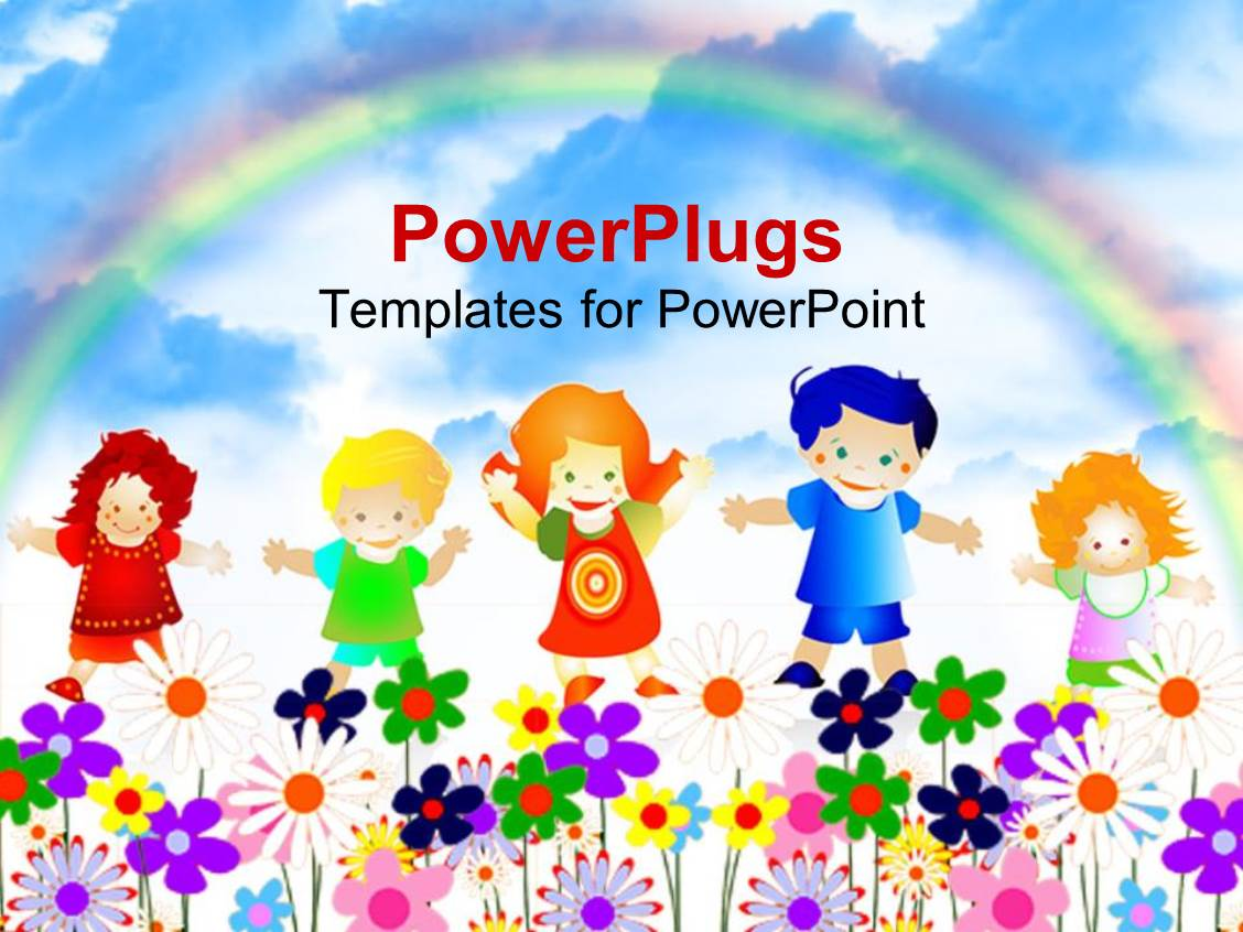 Powerpoint template 5 kids playing happily in a garden full of powerpoint template displaying 5 kids playing happily in a garden full of flowers with a rainbow toneelgroepblik Images