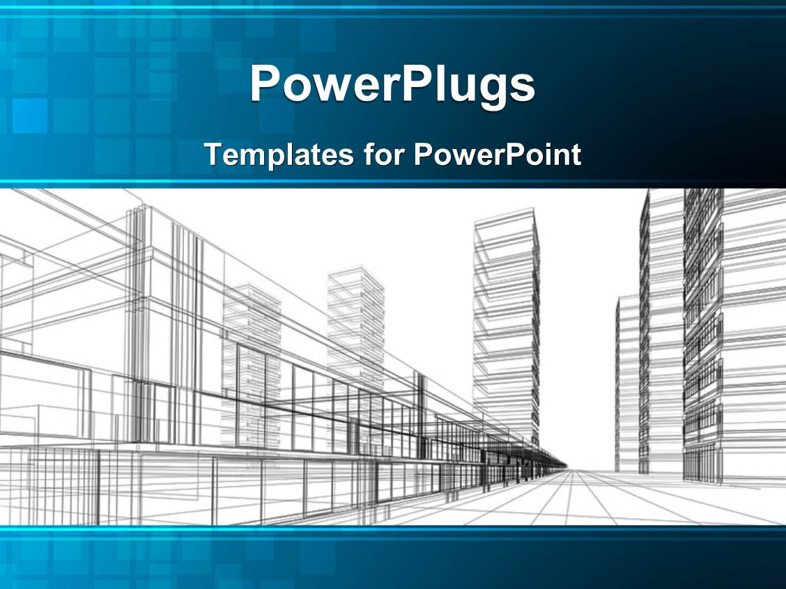 Powerpoint template an abstract architectural drawing of some sky powerpoint template displaying an abstract architectural drawing of some sky scrappers and rails toneelgroepblik Image collections