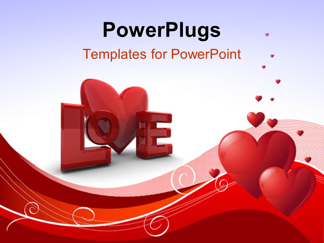 Powerpoint template valentine depiction with love shaped ornaments elegant slide set enhanced with abstract valentines day background with heart shapes curves and word toneelgroepblik Image collections
