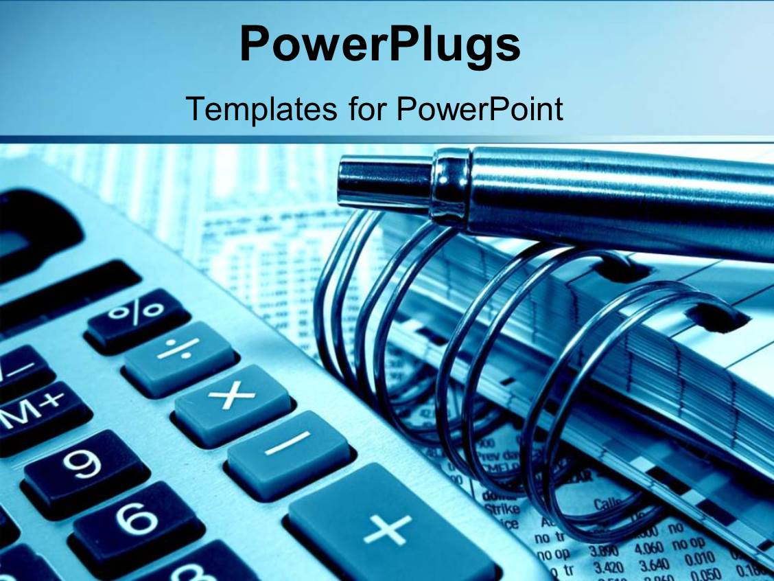5000 finance powerpoint templates w finance themed backgrounds ppt layouts enhanced with accounting and calculating with pens notebooks and calculators on a blue background template size toneelgroepblik Image collections