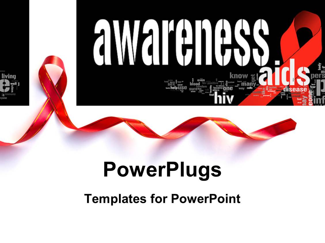 Hiv aids powerpoint templates crystalgraphics amazing slides consisting of aid awareness concept with red support ribbon with keywords in the background template size toneelgroepblik Image collections