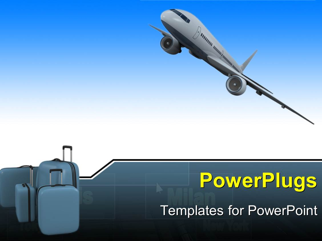 5000 aircraft powerpoint templates w aircraft themed backgrounds amazing presentation theme consisting of an airplane with 3 bags of luggage toneelgroepblik Gallery