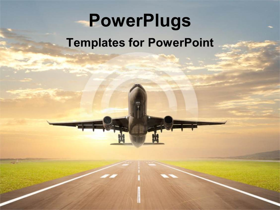 5000 runway powerpoint templates w runway themed backgrounds presentation theme featuring an airplane just taking off on an aiport runway template size toneelgroepblik Gallery