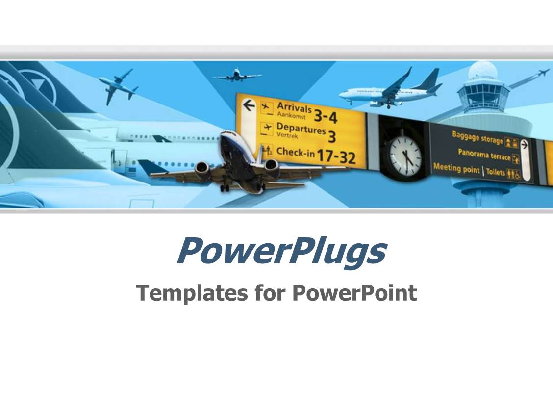 Aircraft powerpoint templates w aircraft themed backgrounds slides with airport airplane transportation theme with flying planes and planes parked in airport departures and toneelgroepblik Choice Image