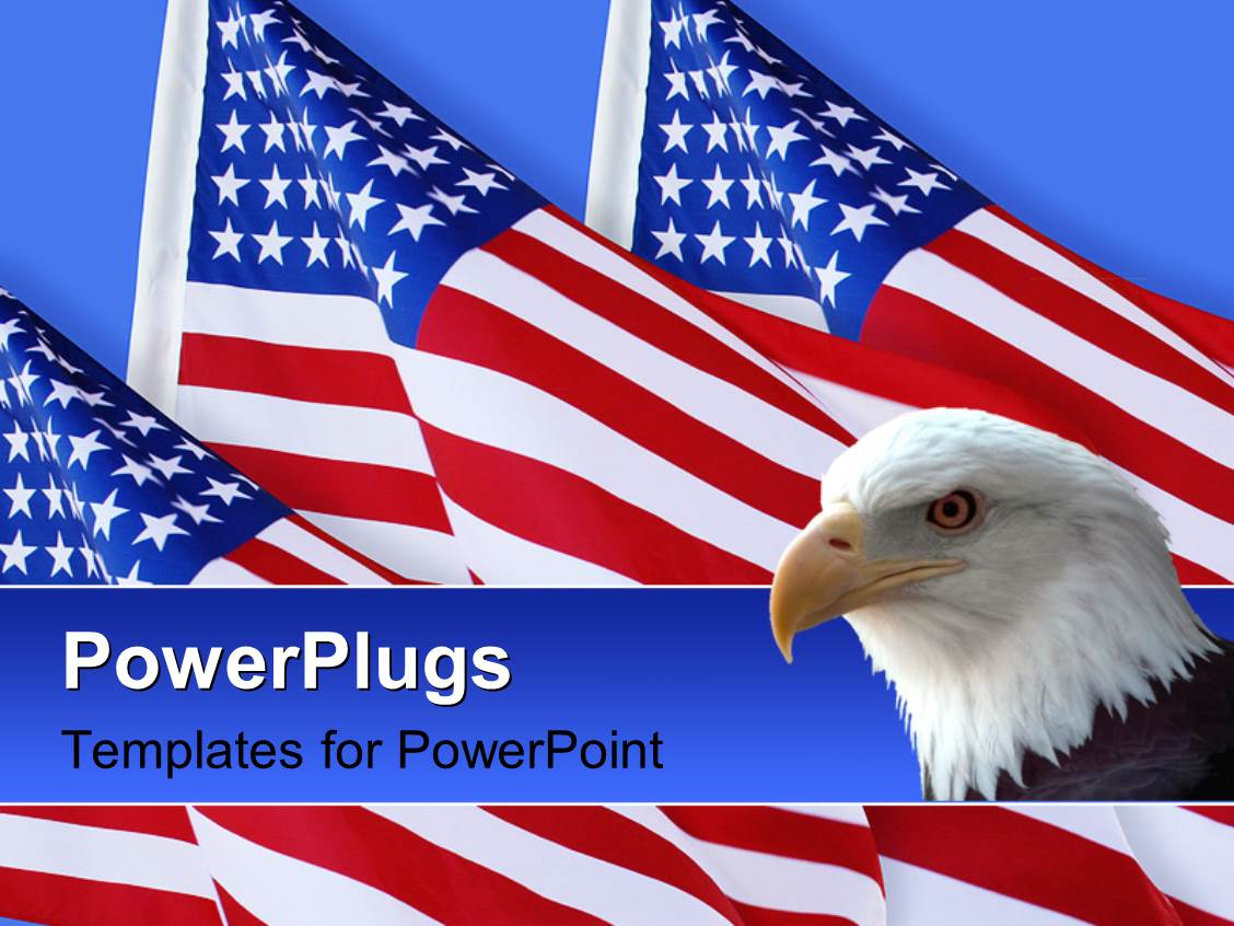 Powerpoint template lots f fireworks and an american flag on a pole amazing ppt theme consisting of american eagle with three american flags on blue background toneelgroepblik Gallery