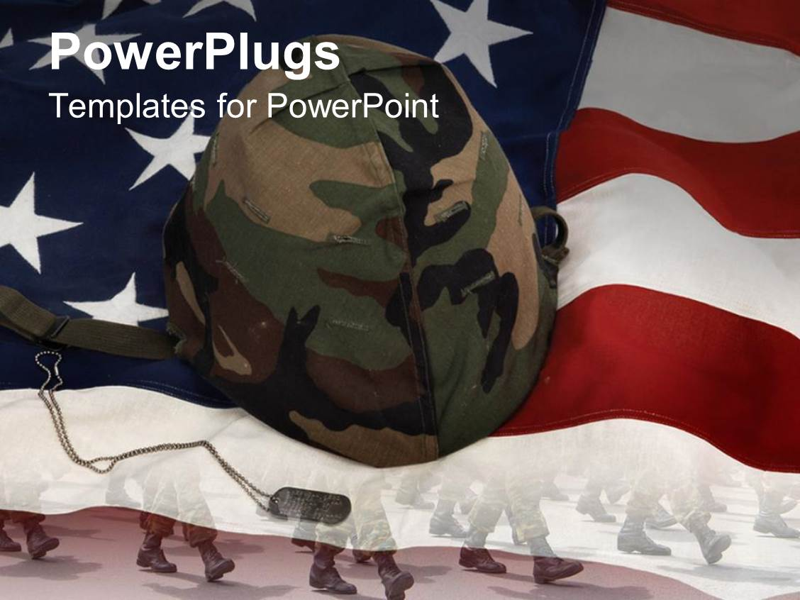 Powerpoint template an american flag with a soldiers helmet 30623 powerpoint template displaying an american flag with a soldiers helmet toneelgroepblik Gallery