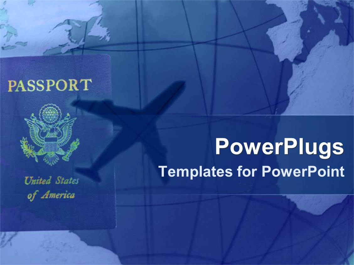 Powerpoint template transportation flying in airplane public ppt theme having american passport with shadow of airplane in blue background toneelgroepblik Choice Image