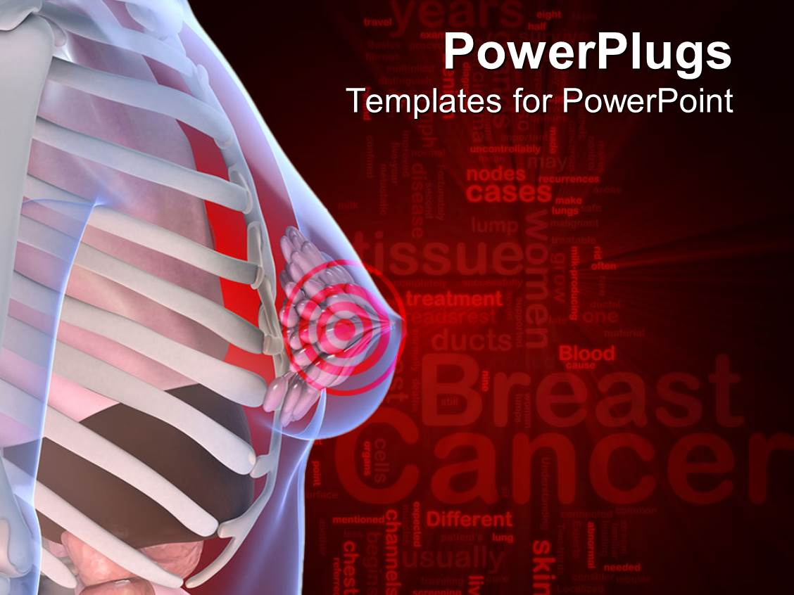 Powerpoint template anatomy of the female breast with a for Breast cancer ppt template