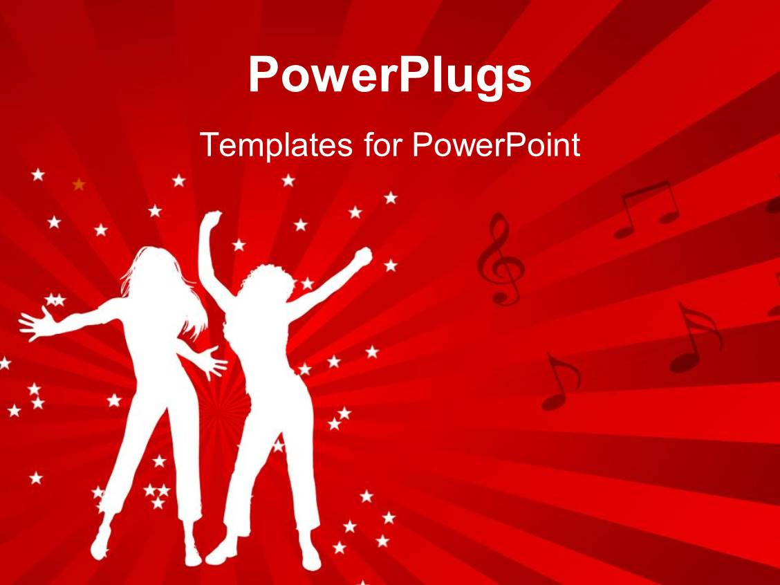 80s powerpoint templates ppt themes with 80s backgrounds slide deck having animated depiction of two ladies dancing on a red background toneelgroepblik Images