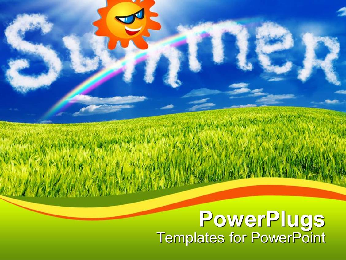 Slides Enhanced With Animated Smiling Sun In A Blue Sky Over Green Grass  Template Size
