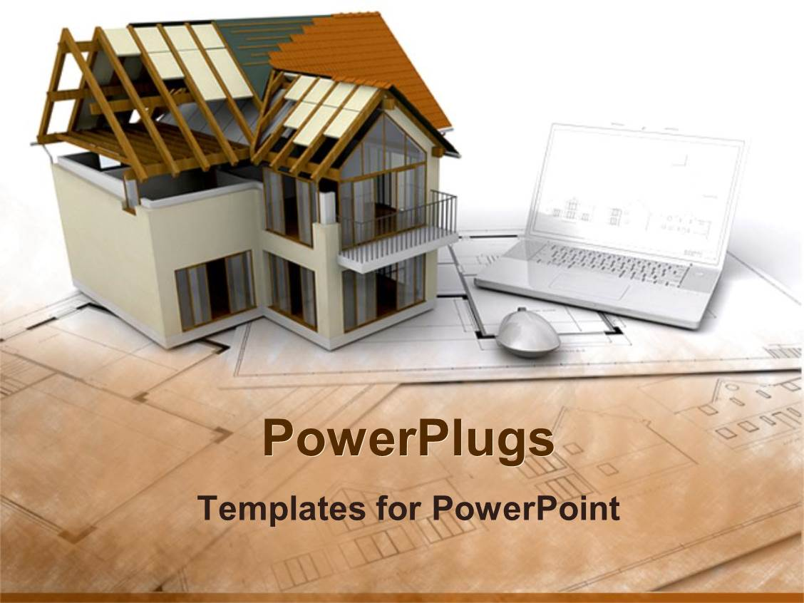 Civil engineering powerpoint templates crystalgraphics ppt theme having architectural design of building beside laptop and computer mouse on construction plan template size toneelgroepblik Images