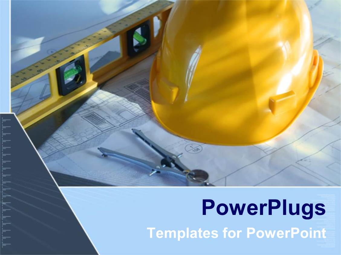 Construction powerpoint templates ppt themes with construction beautiful slide set with architecture blue prints with construction instruments and yellow hard hat as a template size alramifo Images