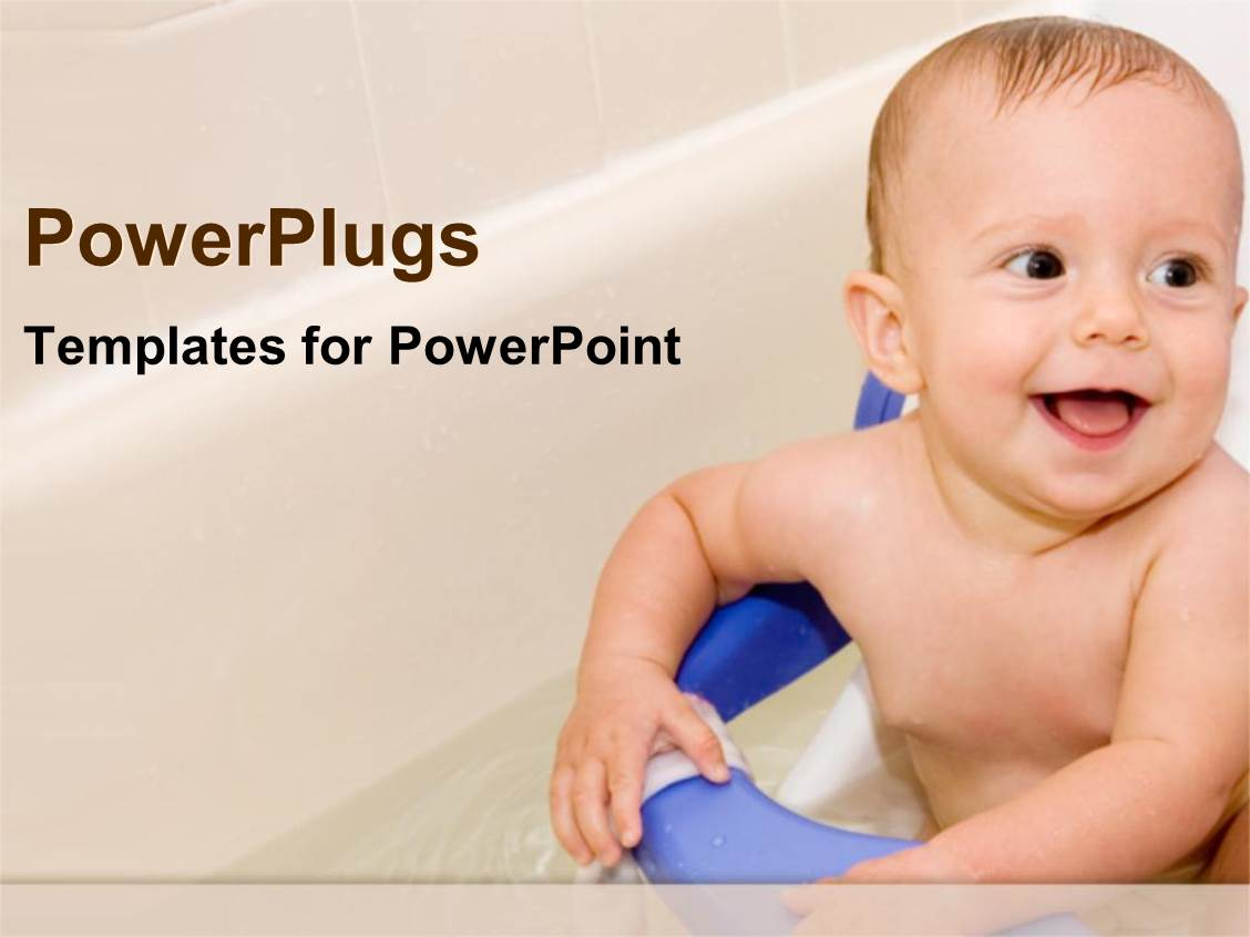 PowerPoint Template Displaying Baby in the Bath Tub Smiling White and Blue Background