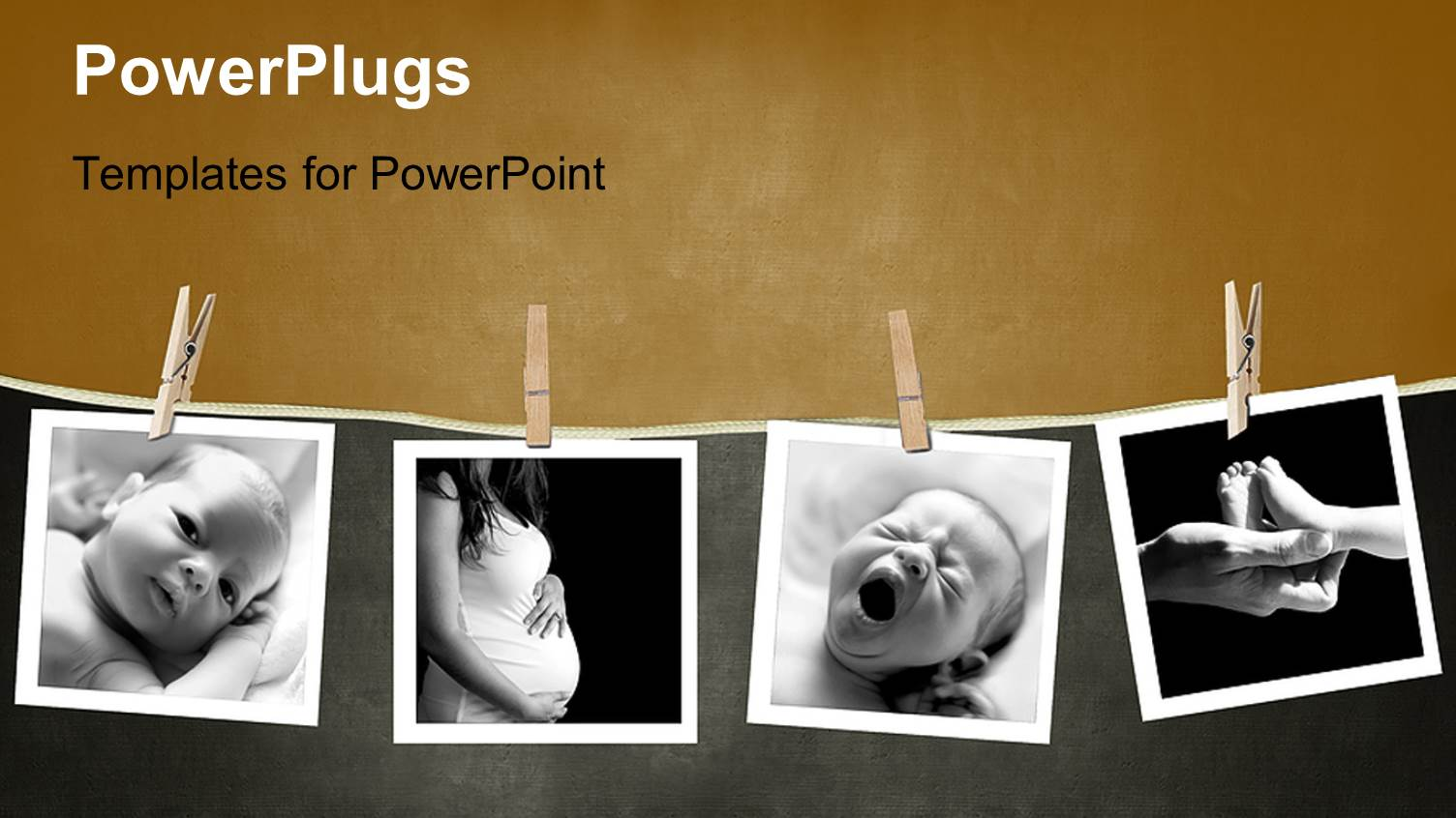 PowerPoint Template Displaying Baby and Mother Camera Prints Displayed in a Darkroom Pinned with Wood Clothing Pins