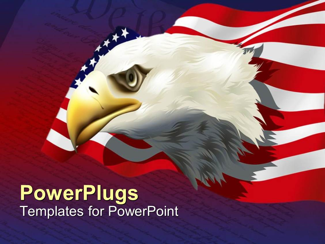 Patriotic powerpoint templates ppt themes with patriotic backgrounds colorful ppt layouts having bald american eagle with american flag over united states constitution template size alramifo Images