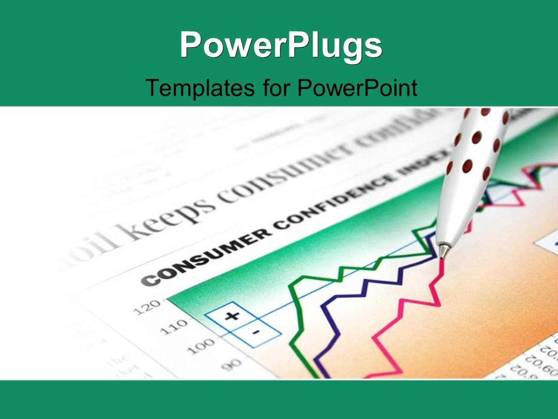 PowerPoint Template Displaying Ballpoint Pen Over Financial Document with Colored Line Charts