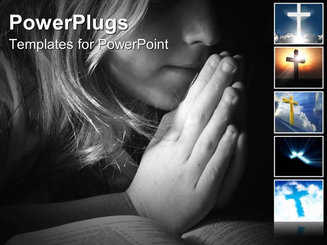 PowerPoint Template Displaying a Beautiful Girl Praying with Black Background
