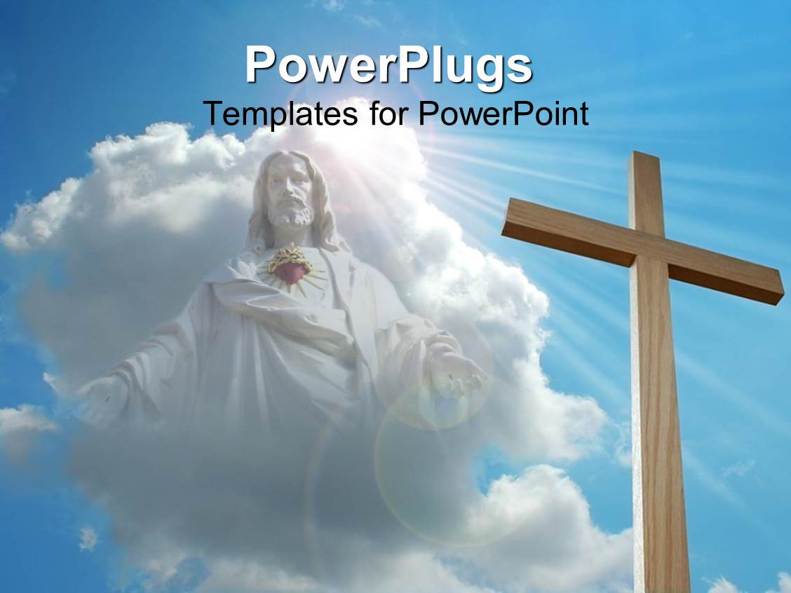 Powerpoint template floral pattern with six various sized purple ppt theme enhanced with big wooden cross with a jesus image in the clouds toneelgroepblik Gallery