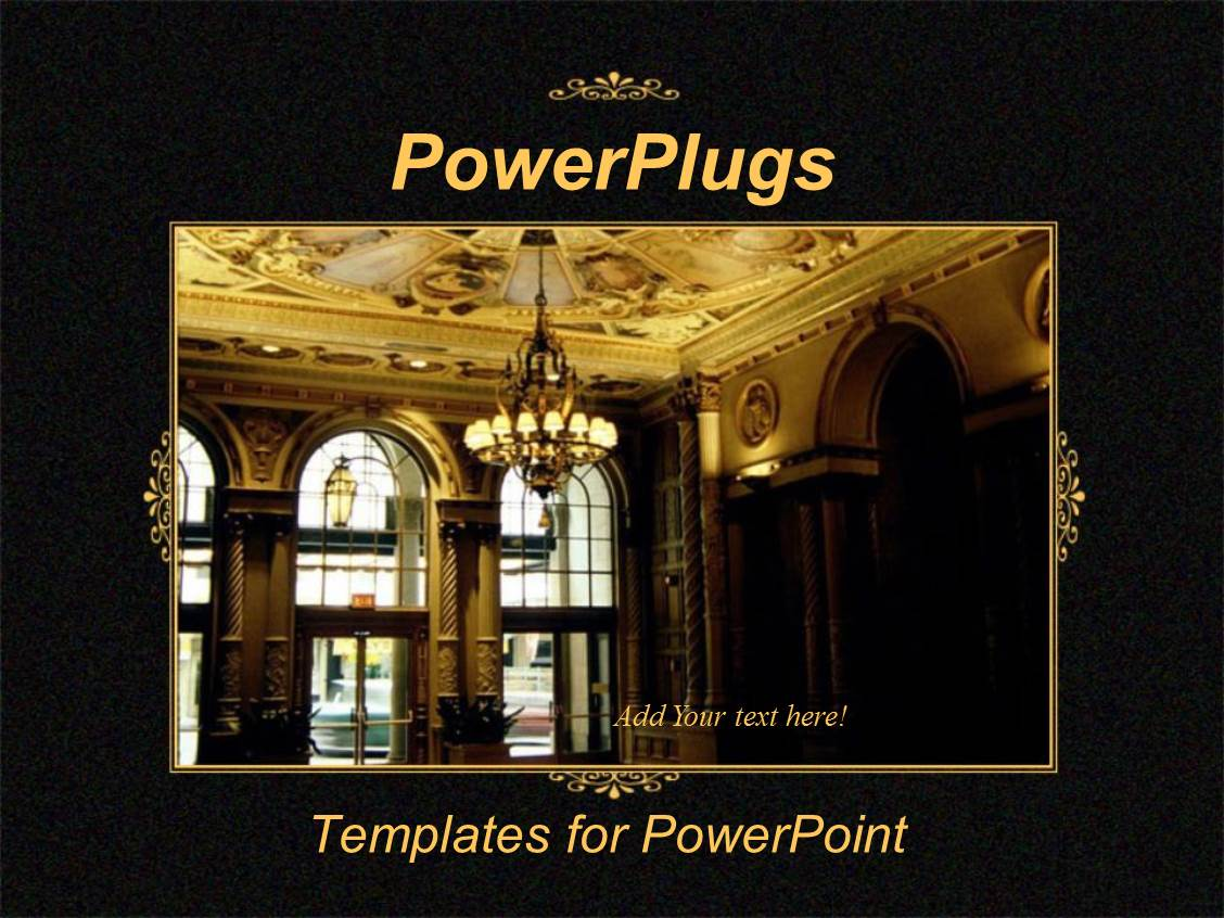5000 hotel powerpoint templates w hotel themed backgrounds ppt theme having black template showing hotel lobby with golden interior and chandelier toneelgroepblik Image collections