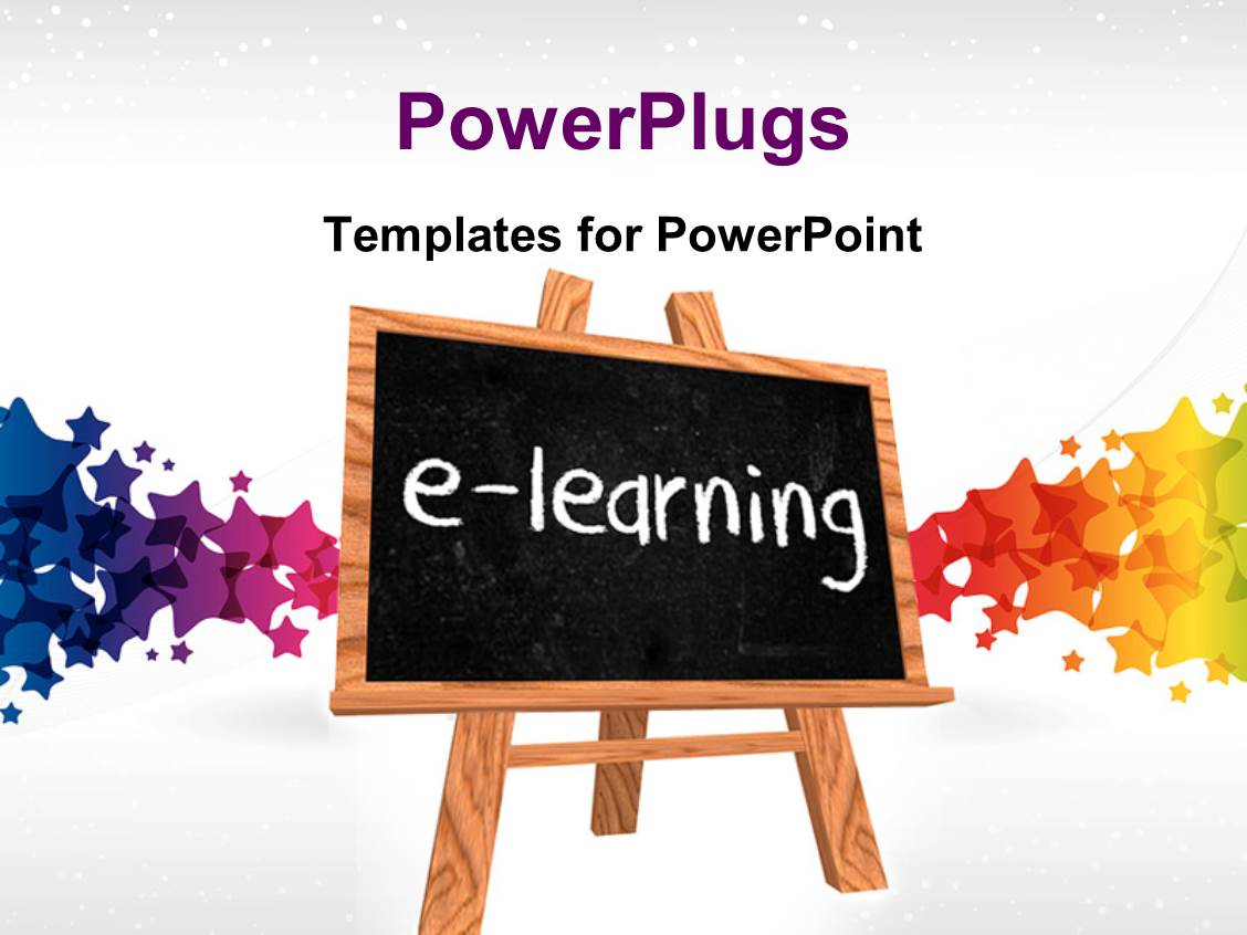Powerpoint template a number of people the word learning with slides with a blackboard saying e learning with colorful background toneelgroepblik Image collections