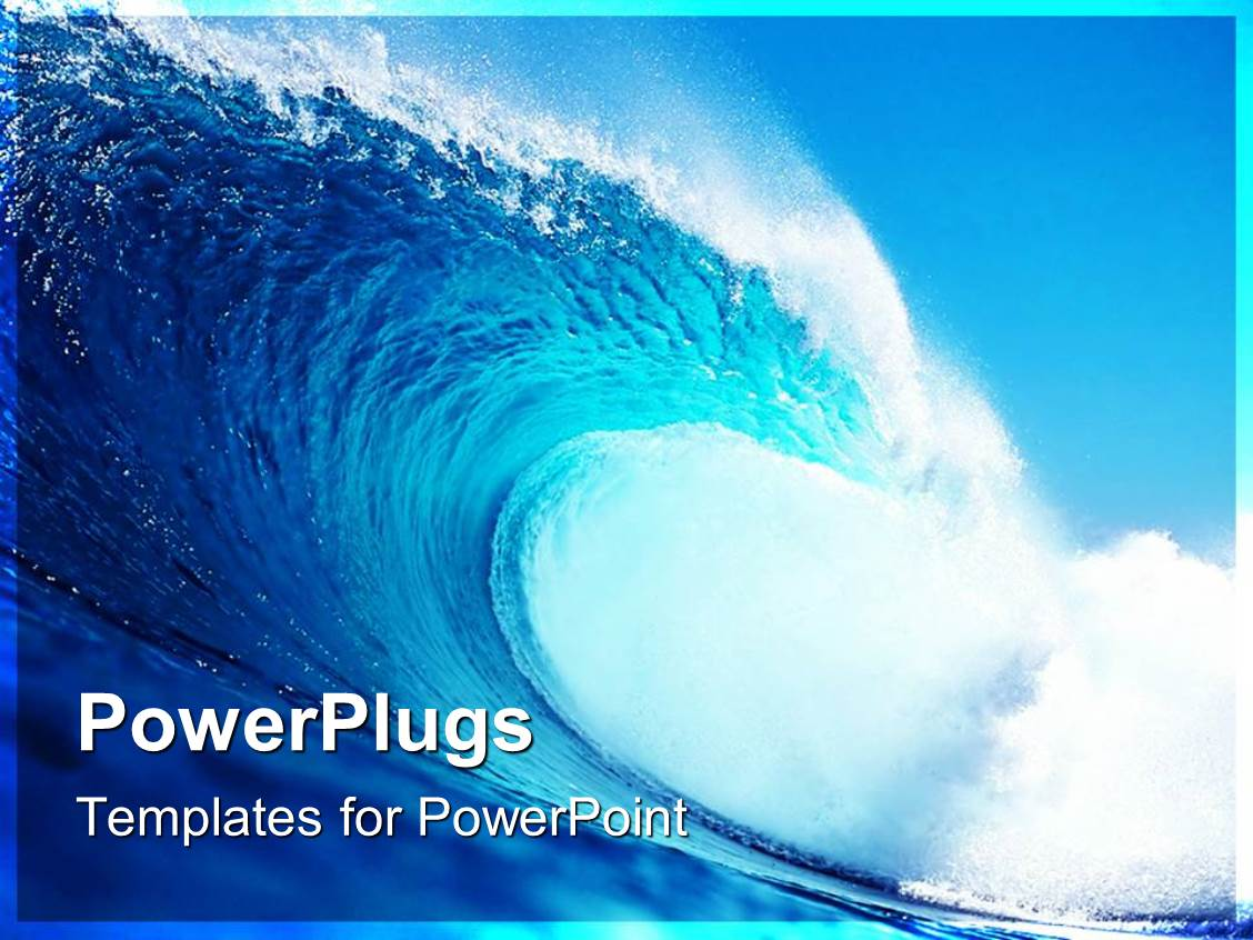 Powerpoint template blue and white tidal wave with spray surfing powerpoint template displaying blue and white tidal wave with spray surfing ocean sea toneelgroepblik Images