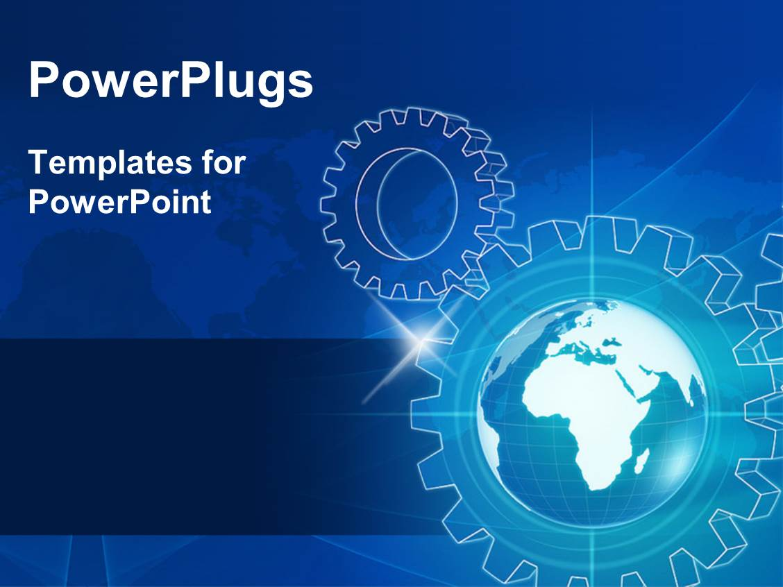 Powerpoint template human character running the cog gear wheels beautiful slide deck with blue world globe in gear wheels and map over lights rays toneelgroepblik Gallery