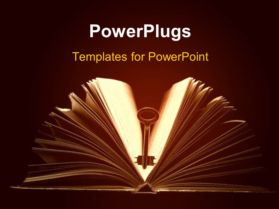 Powerpoint template the book of knowledge with a graduate holding a slide deck with a book and a key in the middle of it with brownish background toneelgroepblik Image collections