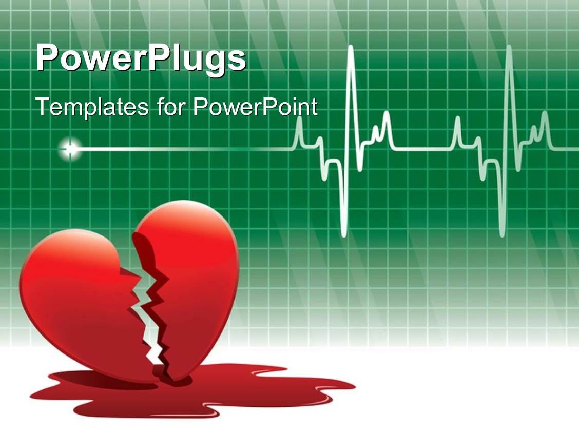 cardiac ppt template - powerpoint template broken red heart with blood on floor
