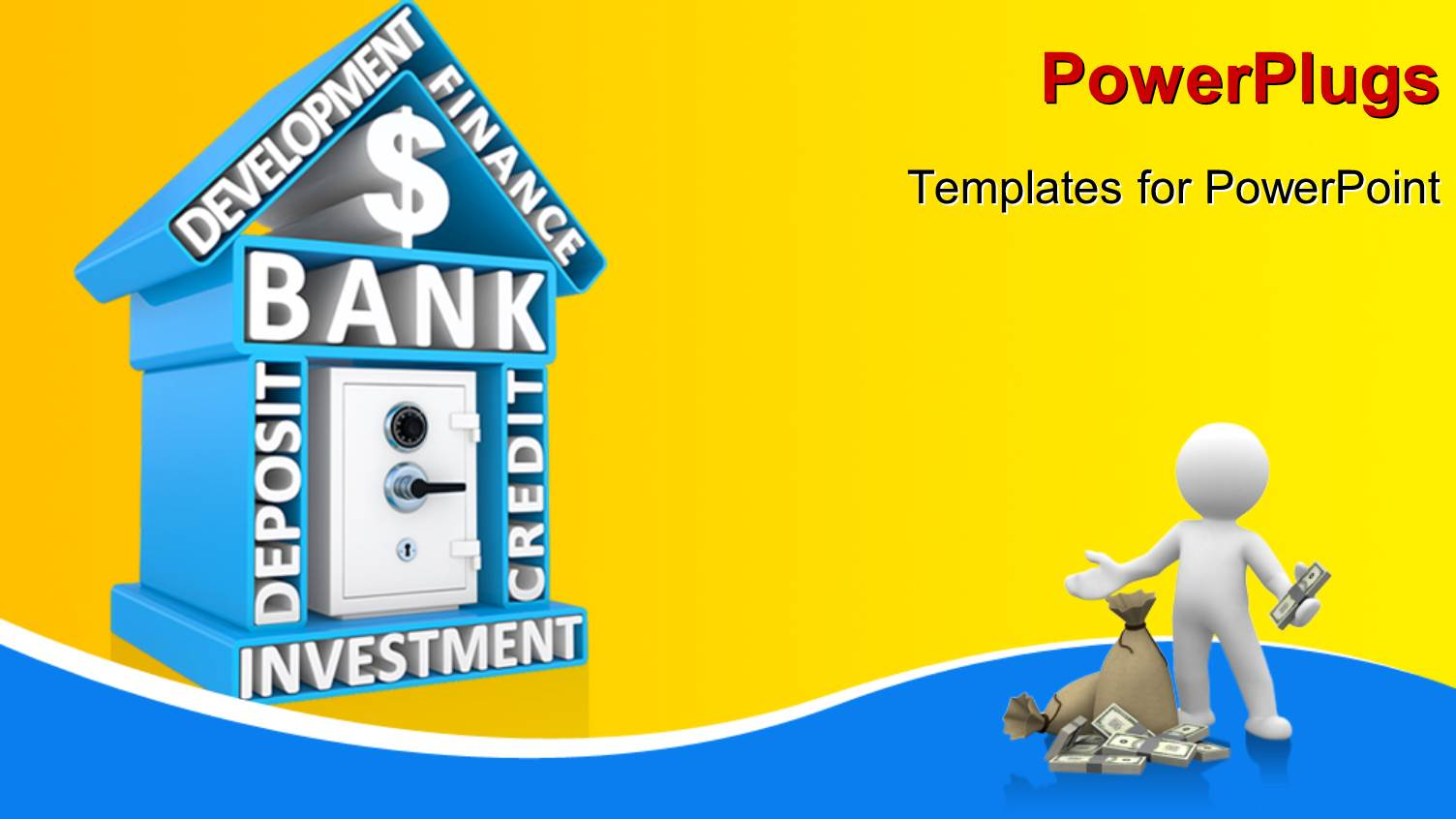 5000 banking powerpoint templates w banking themed backgrounds ppt theme featuring building of bank with keywords and the safe humanoid with dollars and toneelgroepblik Gallery