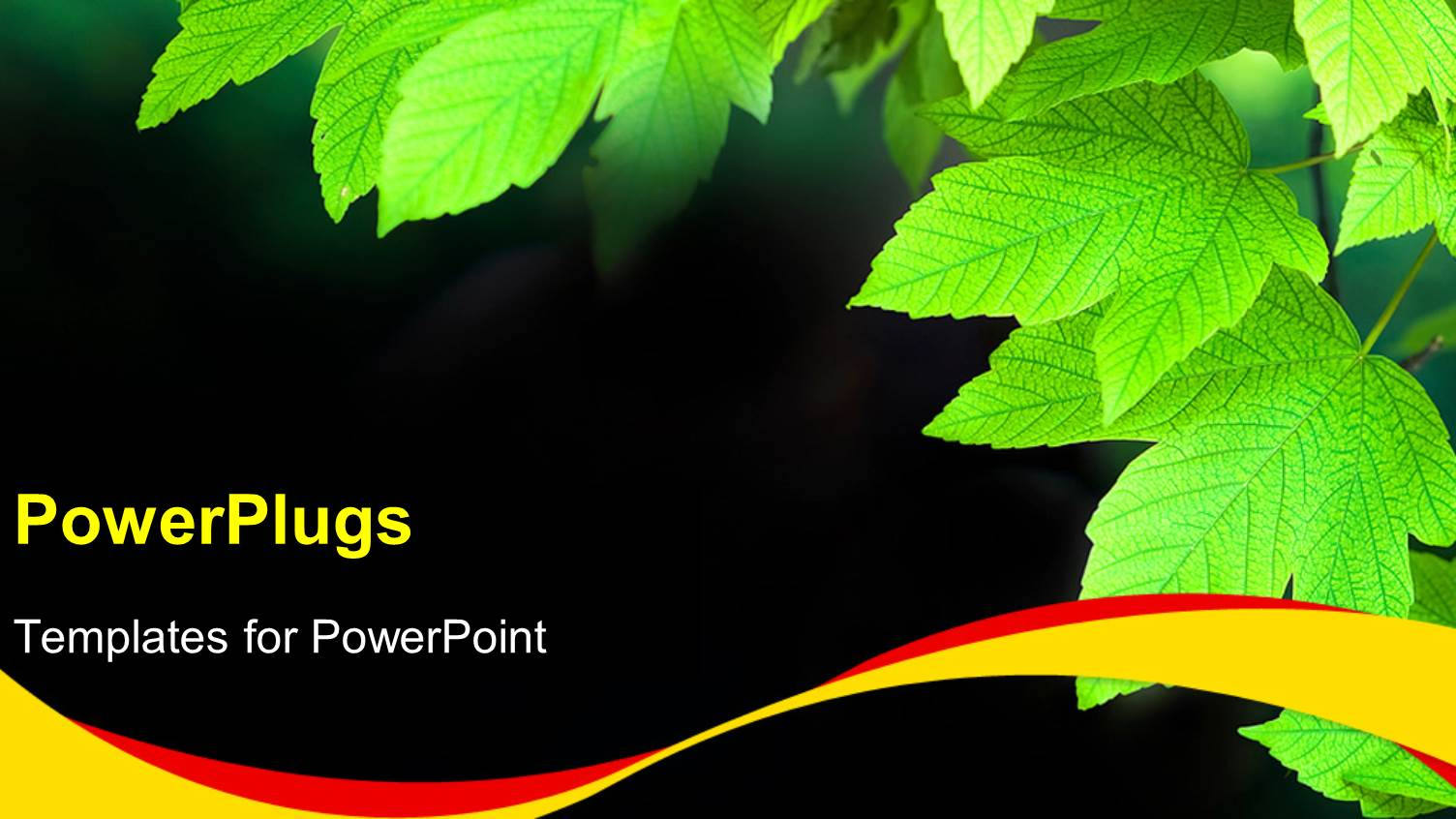 Powerpoint template green bulb with leaves as a symbol of energy ppt theme featuring a bunch of green leaves on a black colored background toneelgroepblik Images