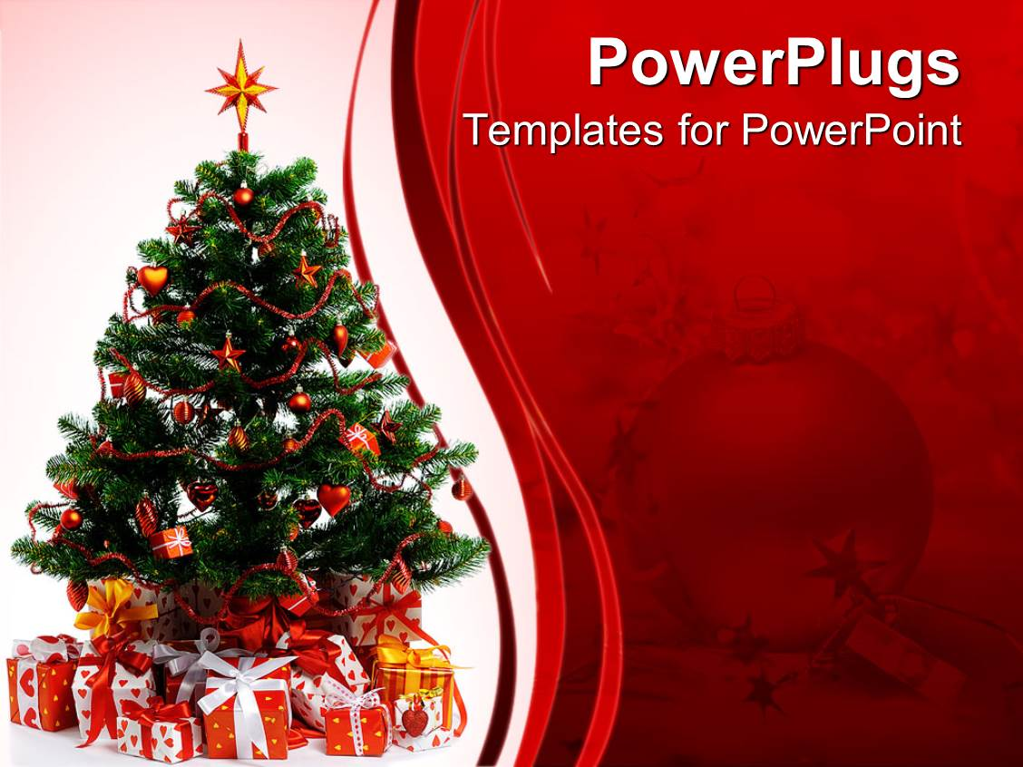 Powerpoint template golden shinny christmas tree ornament on a ppt layouts with christmas celebrations with tree and gifts alramifo Image collections