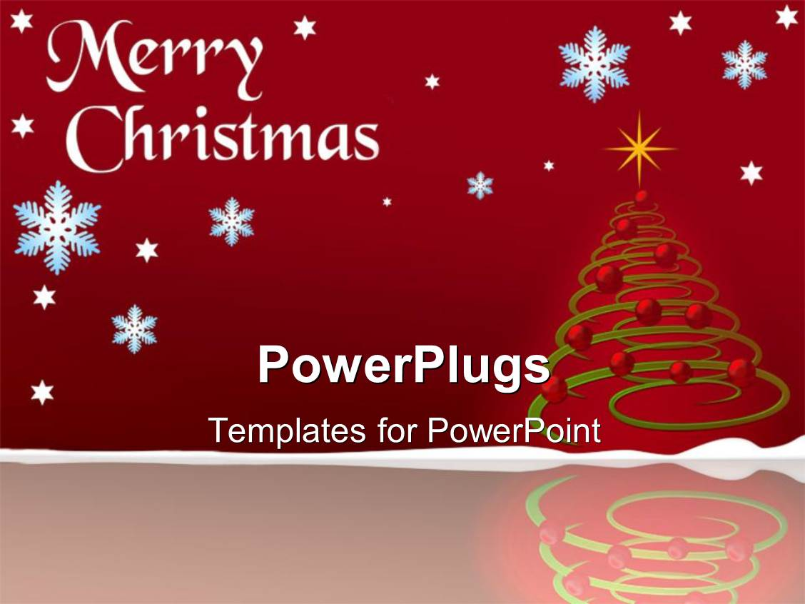 Powerpoint template christmas depiction with decoration on powerpoint template displaying christmas depiction with decoration on christmas tree and snow flakes alramifo Choice Image