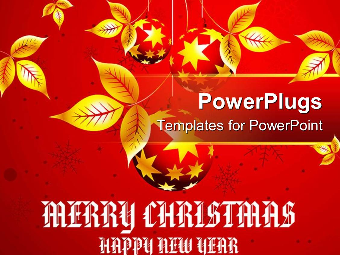 PowerPoint Template Displaying Christmas Theme with Golden Leaves on Red Background