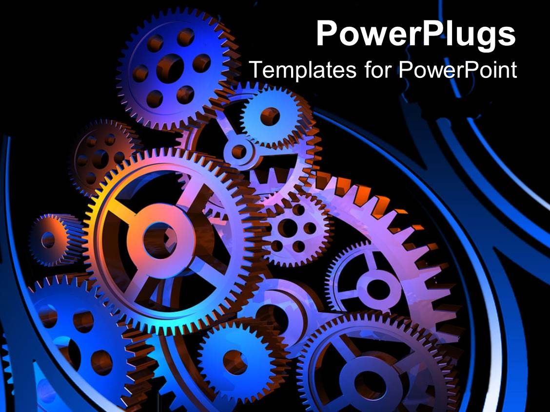 Powerpoint template lots of multi colored gears with a silver and presentation featuring close up of multiple colored engineering gears connected together toneelgroepblik Gallery